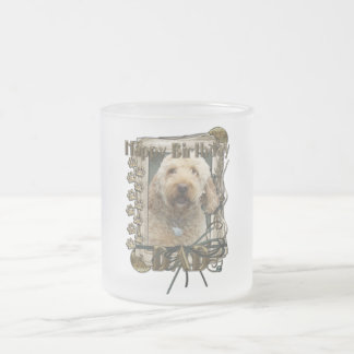 Happy Birthday - Stone Paws - GoldenDoodle - Dad Frosted Glass Coffee Mug