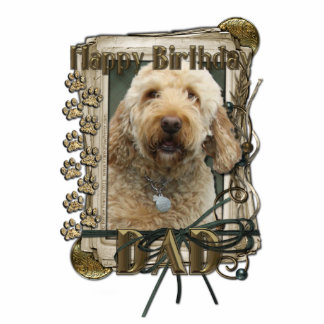 Happy Birthday - Stone Paws - GoldenDoodle - Dad Standing Photo Sculpture