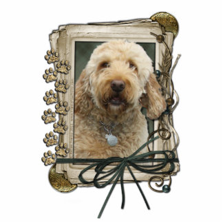 Happy Birthday - Stone Paws - GoldenDoodle Standing Photo Sculpture