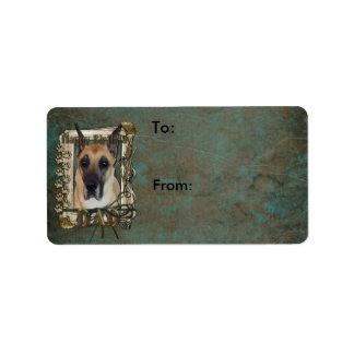 Happy Birthday - Stone Paws - Great Dane - Dad Address Label