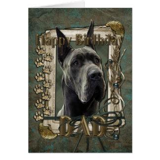 Happy Birthday - Stone Paws - Great Dane -Grey Dad Greeting Card