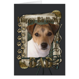 Happy Birthday - Stone Paws - Jack Russell - Dad Greeting Card