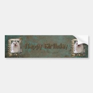 Happy Birthday - Stone Paws - Maltese - Dad Bumper Sticker