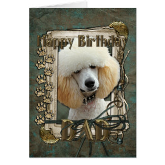 Happy Birthday - Stone Paws - Poodle - Apricot Dad Card
