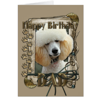 Happy Birthday - Stone Paws - Poodle - Apricot Dad Greeting Card