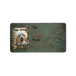 Happy Birthday - Stone Paws - Poodle - Apricot Dad Address Label
