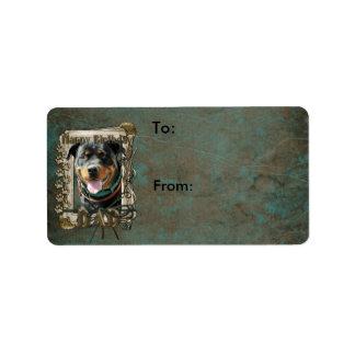 Happy Birthday - Stone Paws -Rottie SambaParTi Dad Address Label