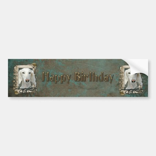 Happy Birthday - Stone Paws - Saluki Bumper Sticker