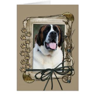 Happy Birthday - Stone Paws - St Bernard - Mae Greeting Card