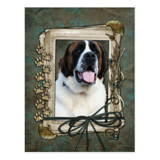 Happy Birthday - Stone Paws - St Bernard - Mae Postcard