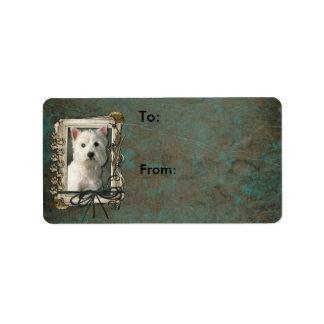 Happy Birthday - Stone Paws -West Highland Terrier Address Label