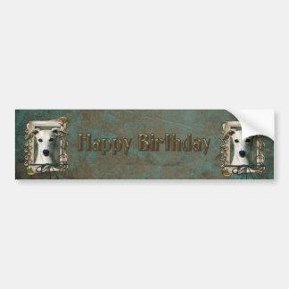 Happy Birthday - Stone Paws - Whippet Bumper Sticker