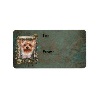 Happy Birthday - Stone Paws -Yorkshire Terrier Dad Address Label