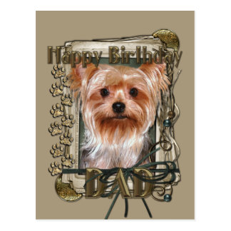 Happy Birthday - Stone Paws - Yorkshire Terrier Postcard
