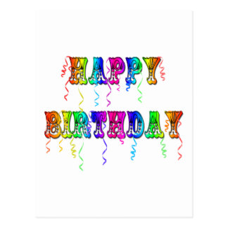 Happy Birthday Streamers Postcards