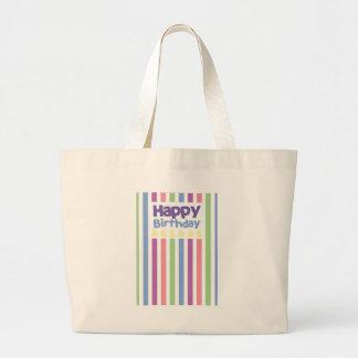 Happy Birthday stripey card Jumbo Tote Bag