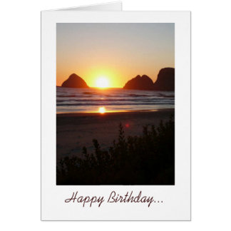 Happy Birthday sunset at the beach toes in the san Card