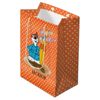 Happy Birthday Surfer Bear Medium Gift Bag