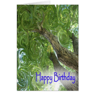 Happy Birthday-swirling leaves Card