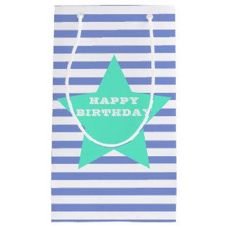 Happy Birthday Teal & Blue Star & Stripes Gift Bag