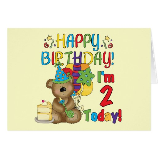 Happy Birthday Teddy Bear 2nd Tshirts and Gifts Cards
