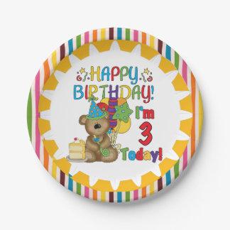 Happy Birthday Teddy Bear 3rd Birthday Paper Plate