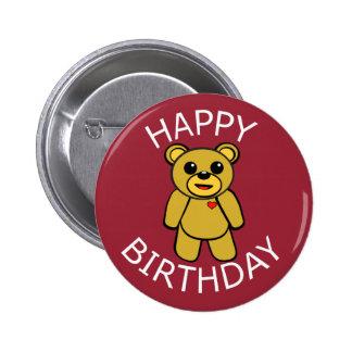 Happy Birthday Teddy Bear 6 Cm Round Badge