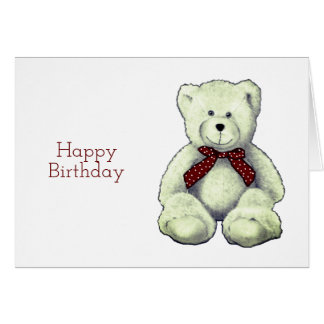 Happy Birthday, Teddy Bear, Pencil Drawing Card