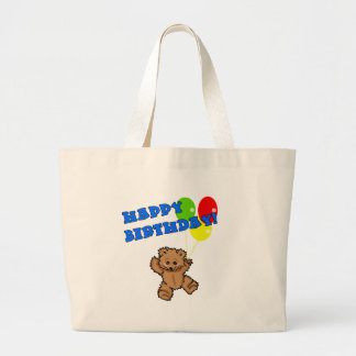 Happy Birthday Teddy Bear with Balloons Large Tote Bag