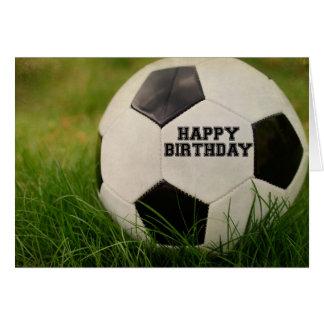 Happy Birthday Textured Soccer Ball Greeting Card