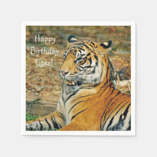 Happy Birthday Tiger Paper Napkin