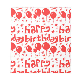 happy birthday tiled text with balloons notepads