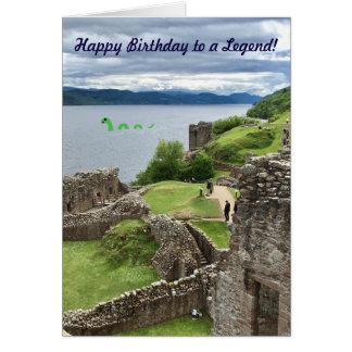 Happy Birthday to a Legend Cartoon Nessie in Loch Card