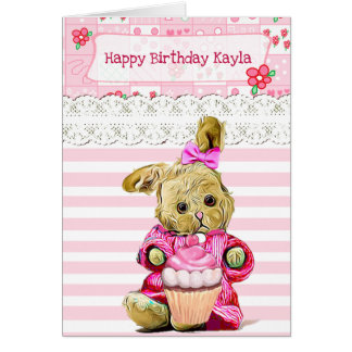 Happy Birthday to a Little Girl Pink Bunny Card