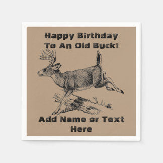 Happy Birthday To An Old Buck Napkins Disposable Serviette