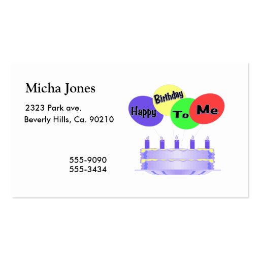 Happy Birthday To Me Cake & Balloons Business Cards