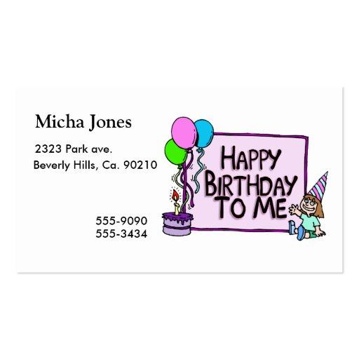 Happy Birthday To Me Girl Business Card Templates