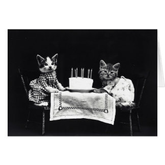 Happy Birthday to Meow | Kitties with Cake Card