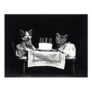 Happy Birthday to Meow | Kitties with Cake Postcard