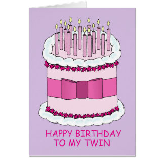 Happy Birthday to my twin, large cake with candles Card