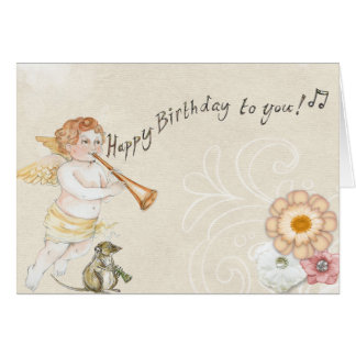Happy Birthday to you! Angel with mouse card