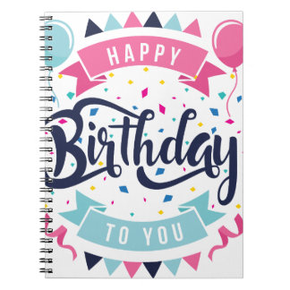 Happy birthday to you confetti and bunting notebooks