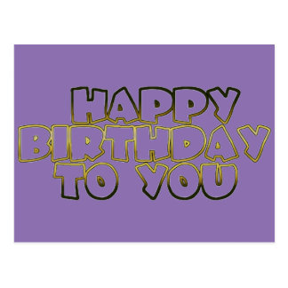 Happy Birthday To You Pale Purple Gold Typography Postcard