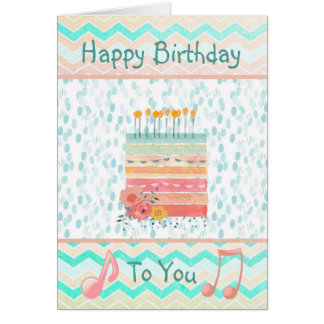 Happy Birthday to you, Teal and Coral Card