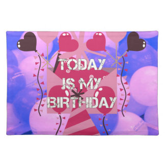 Happy Birthday Today is my Birthday Blue Balloons Placemats