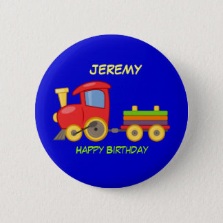 Happy Birthday, Toy Train, template 6 Cm Round Badge