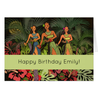 Happy Birthday Tropical Hawaii Custom Template Card