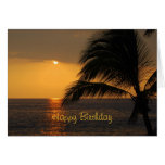 Happy Birthday Tropical Sunset Greeting Card