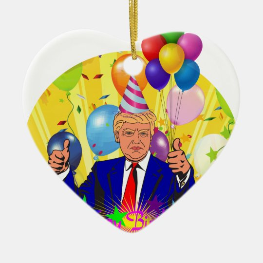 happy birthday trump ceramic ornament