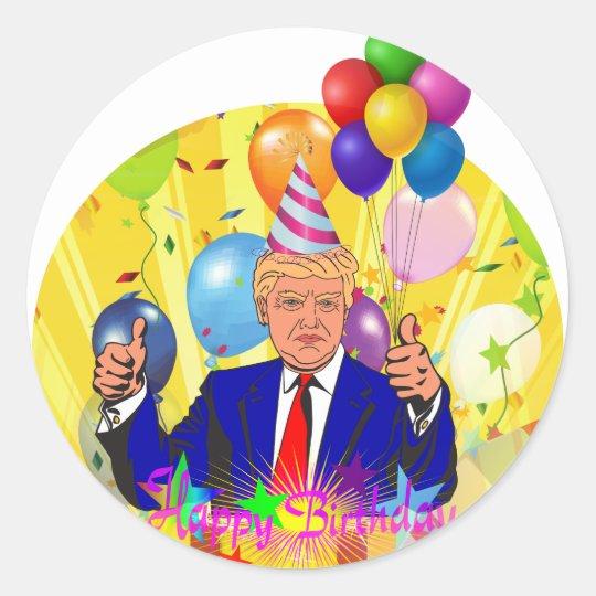 happy birthday trump classic round sticker